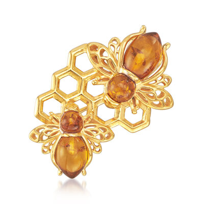 Amber Bee and Honeycomb Pin in 18kt Gold Over Sterling, , default