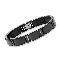 "Men's Black Stainless Steel Link Bracelet. 8.5"", , default"