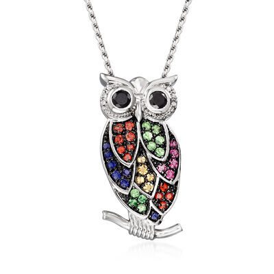 1.90 ct. t.w. Multi-Stone and Black Spinel Owl Pin Pendant Necklace with Diamonds in Sterling Silver