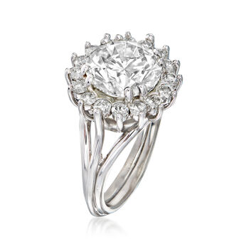 Majestic Collection 5.03 ct. t.w. Diamond Halo Ring in 18kt White Gold. Size 7, , default