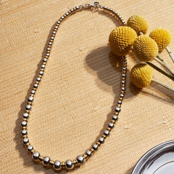 Italian Two-Tone Sterling Silver Graduated Bead and Rondelle Necklace, , default