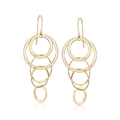 14kt Yellow Gold Multi-Circle Drop Earrings , , default