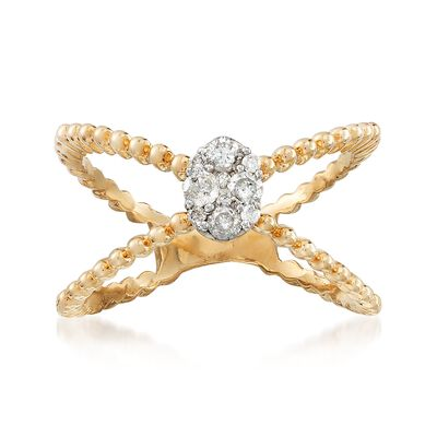 .25 ct. t.w. Pave Diamond Crisscross Ring in 14kt Yellow Gold, , default