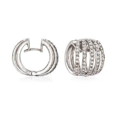 C. 1980 Vintage 1.00 ct. t.w. Diamond Huggie Hoop Earrings in 18kt White Gold, , default