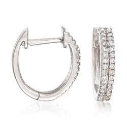 .25 ct. t.w. Diamond Two-Row Hoop Earrings in 14kt White Gold, , default