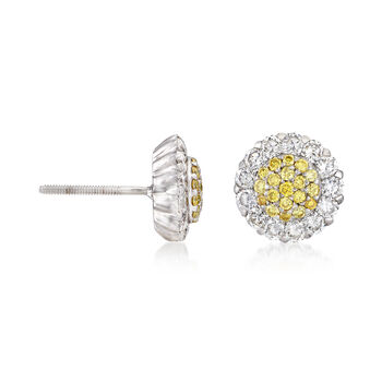 C. 1990 Vintage .66 ct. t.w. White and Yellow Diamond Cluster Earrings in 18kt White Gold, , default