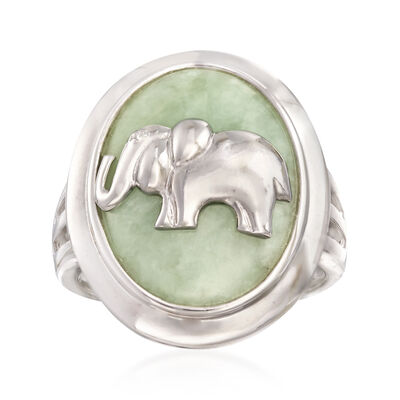 Green Jade Elephant Ring in Sterling Silver, , default