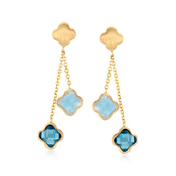 Italian 1.90 ct. t.w. London Blue Topaz and 1.40 ct. t.w. Aquamarine Flower Drop Earrings in 14kt Yellow Gold