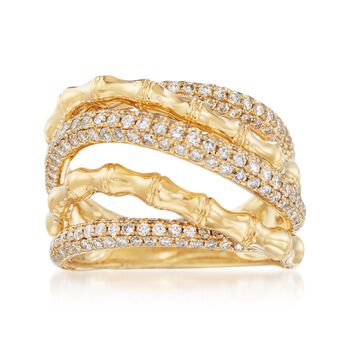 1.35 ct. t.w. Diamond Bamboo Highway Ring in 18kt Yellow Gold, , default