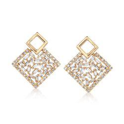 .50 ct. t.w. Diamond Mosaic Geometric Drop Earrings in 14kt Yellow Gold , , default