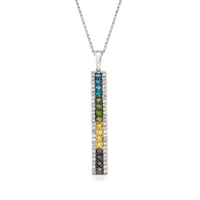 1.00 ct. t.w. Multicolored Diamond Linear Bar Necklace in Sterling Silver