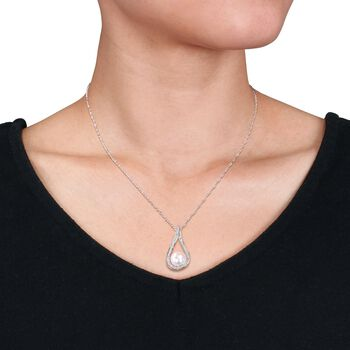 """9-9.5mm Cultured Pearl and .18 ct. t.w. Diamond Teardrop Pendant Necklace in 14kt White Gold. 17"""", , default"""