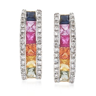 .70 ct. t.w. Multicolored Sapphire and .11 ct. t.w. Diamond Drop Earrings in 14kt Yellow Gold, , default
