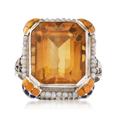 C. 1950 Vintage 8.50 Carat Citrine Ring with Cultured Pearls and Multicolored Enamel in 10kt White Gold, , default