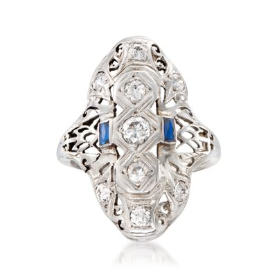 C. 1920 Vintage .80 ct. t.w. Diamond and .25 ct. t.w. Synthetic Sapphire Ring in 18kt White Gold, , default