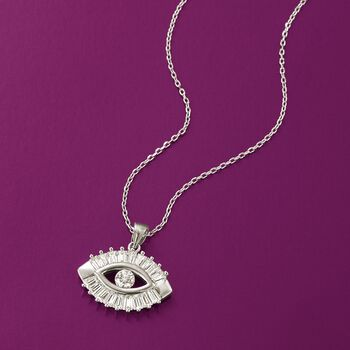 """1.25 ct. t.w. CZ Evil Eye Pendant Necklace in Sterling Silver. 18"""", , default"""