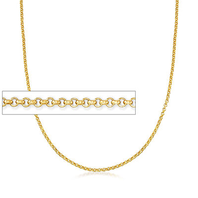 Italian 14kt Yellow Gold Rolo Chain Necklace, , default