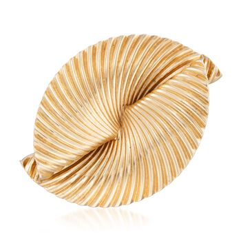 C. 1960 Vintage Tiffany Jewelry 14kt Yellow Gold Folded Fan Pin, , default