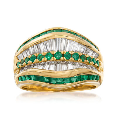 C. 1980 Vintage 1.33 ct. t.w. Diamond and 1.16 ct. t.w. Emerald Ring in 18kt Yellow Gold