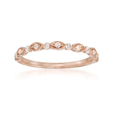 Henri Daussi .20 ct. t.w. Diamond Wedding Ring in 18kt Rose Gold
