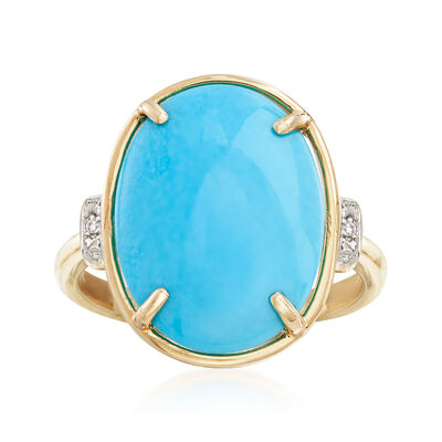 12x16mm Oval Turquoise Ring with Diamond Accents in 14kt Yellow Gold, , default