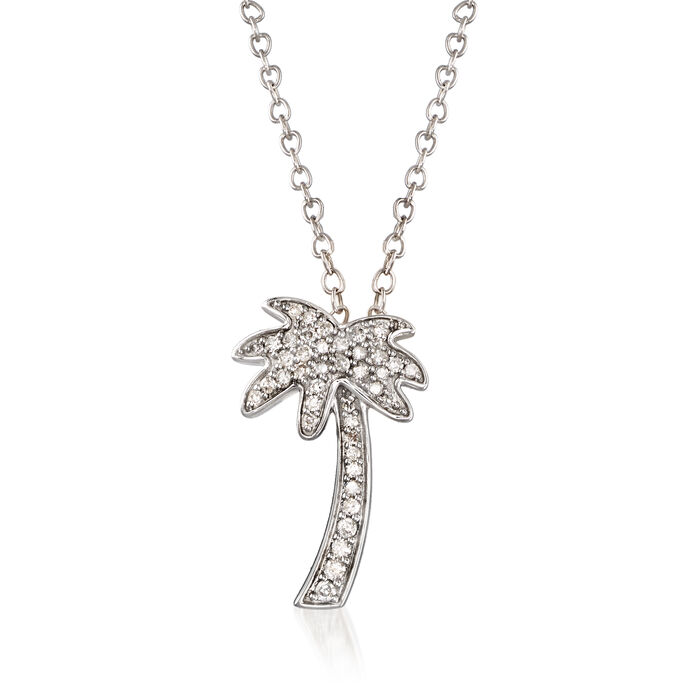 .10 ct. t.w. Diamond Palm Tree Pendant Necklace in 14kt White Gold, , default