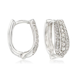.50 ct. t.w. Diamond U-Shaped Hoop Earrings in Sterling Silver, , default