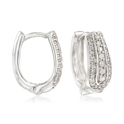 .50 ct. t.w. Diamond U-Shaped Hoop Earrings in Sterling Silver, , default