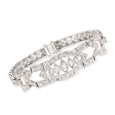 C. 1950 Vintage 2.75 ct. t.w. Diamond Bracelet in Platinum