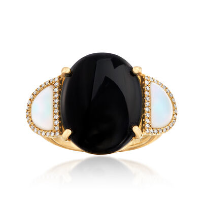 Black Onyx and Mother-Of-Pearl Ring with .16 ct. t.w. Diamonds in 14kt Yellow Gold, , default