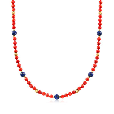 C. 1970 Vintage Coral and Lapis Bead Necklace in 14kt Yellow Gold, , default