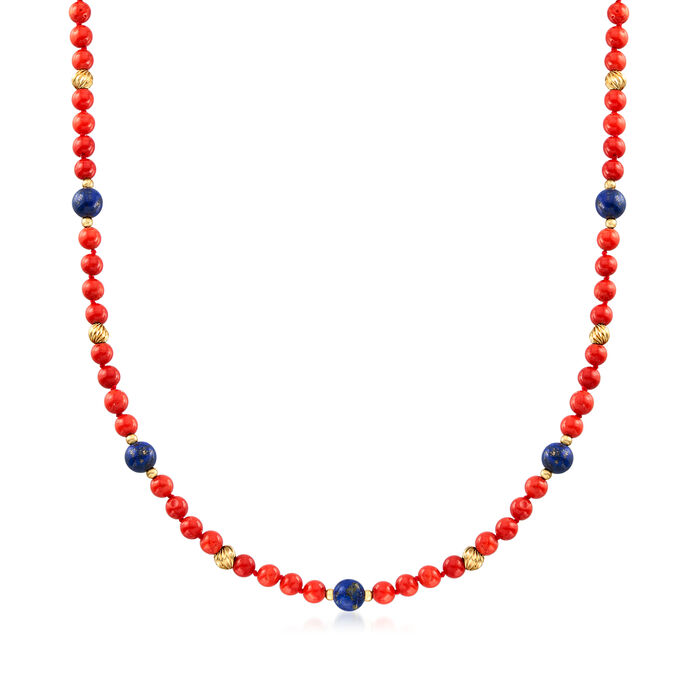 C. 1970 Vintage Coral and Lapis Bead Necklace in 14kt Yellow Gold