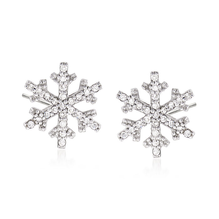 .15 ct. t.w. Diamond Snowflake Stud Earrings in 14kt White Gold