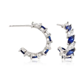 "Simulated Sapphire and 1.40 ct. t.w. CZ C-Hoop Earrings in Sterling Silver. 5/8"", , default"