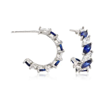 Simulated Sapphire and 1.40 ct. t.w. CZ C-Hoop Earrings in Sterling Silver, , default