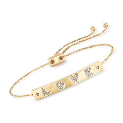 ".10 ct. t.w. Diamond ""Love"" Bolo Bracelet in 18kt Gold Over Sterling, , default"