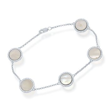"Mother-Of-Pearl and .80 ct. t.w. CZ Station Bracelet in Sterling Silver. 7.5"", , default"