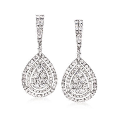 2.75 ct. t.w. Diamond Teardrop Earrings in 14kt White Gold, , default