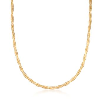 Italian 20.00 ct. t.w. CZ Mesh Necklace in 14kt Yellow Gold, , default