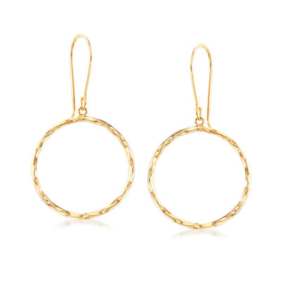 14kt Yellow Gold Open-Circle Drop Earrings