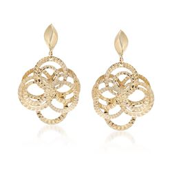 14kt Yellow Gold Interlocking Circle Drop Earrings, , default