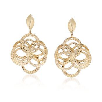 14kt Yellow Gold Interlocking Circle Drop Earrings, , default