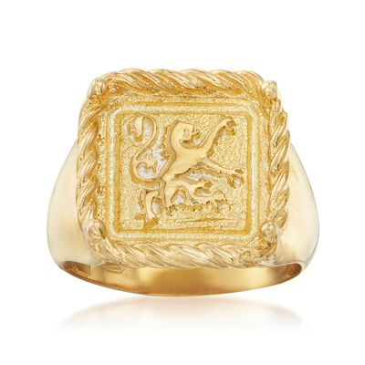 Italian 18kt Gold Over Sterling Square-Top Gryphon Ring, , default