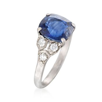 C. 1990 Vintage 3.46 Carat Sapphire and .35 ct. t.w. Diamond Ring in Platinum. Size 5.25
