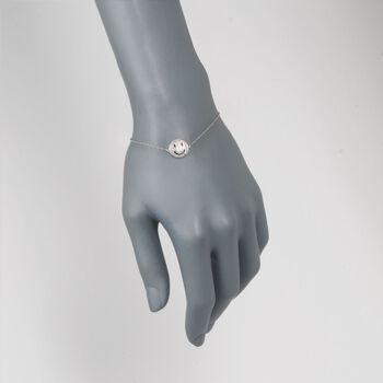 ".15 ct. t.w. Diamond Smiley Face Bracelet in Sterling Silver. 7"", , default"