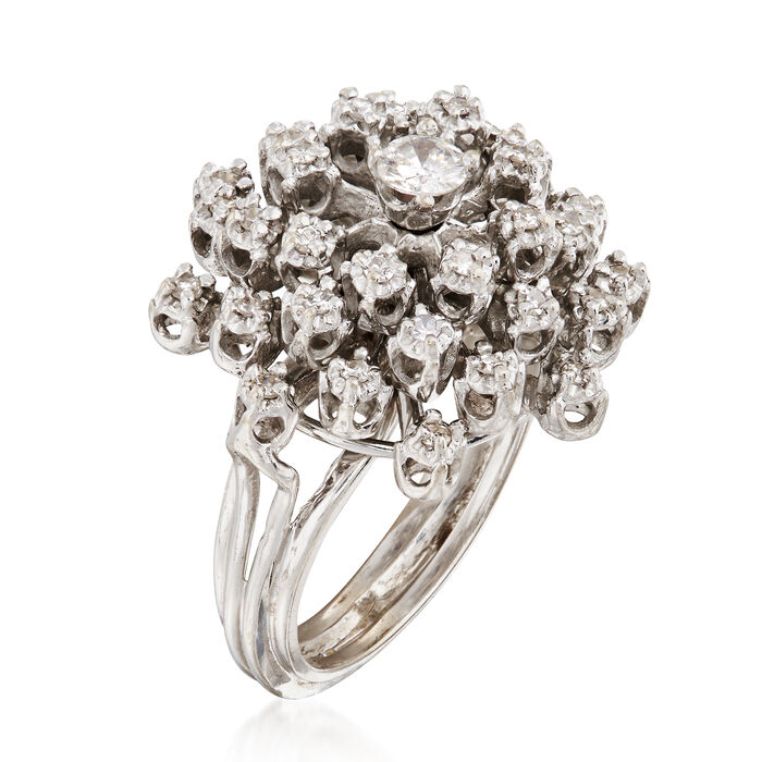 C. 1970 Vintage .60 ct. t.w. Diamond Cluster Ring in 14kt White Gold