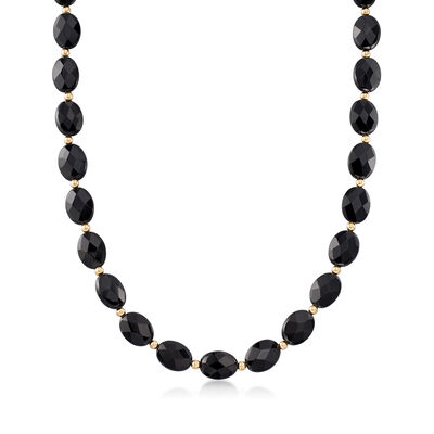 16x12mm Black Onyx Bead Necklace in 14kt Yellow Gold