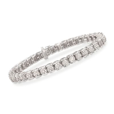 2.00 ct. t.w. Diamond Cluster Tennis Bracelet in Sterling Silver, , default