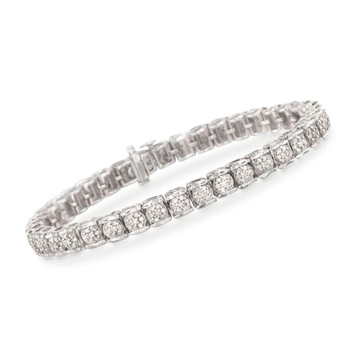 2.00 ct. t.w. Diamond Cluster Tennis Bracelet in Sterling Silver, , default
