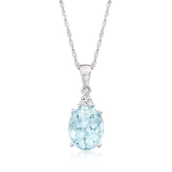 "2.35 Carat Aquamarine Pendant Necklace With Diamond Accents in 14kt White Gold. 18"", , default"
